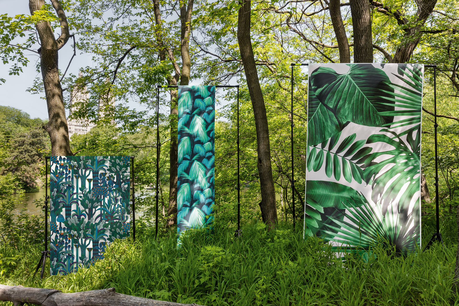 FROM LEFT TO RIGHT Hermes' Jardin d'Osier is a polished design of flowers, shrubs, plants, and fountains. The colors in Tropicana from Osborne & Little are sublimely glamorous. Flavor Paper's Wild Thing is a modern take on the classic aesthetic, with oversize leaves.