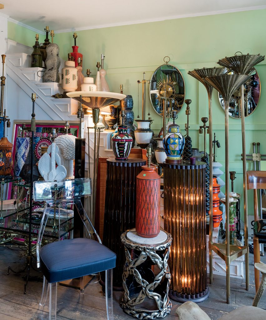 His Sag Harbor, New York, store is a treasure trove of unusual lamps. All you need to add are the shades.
