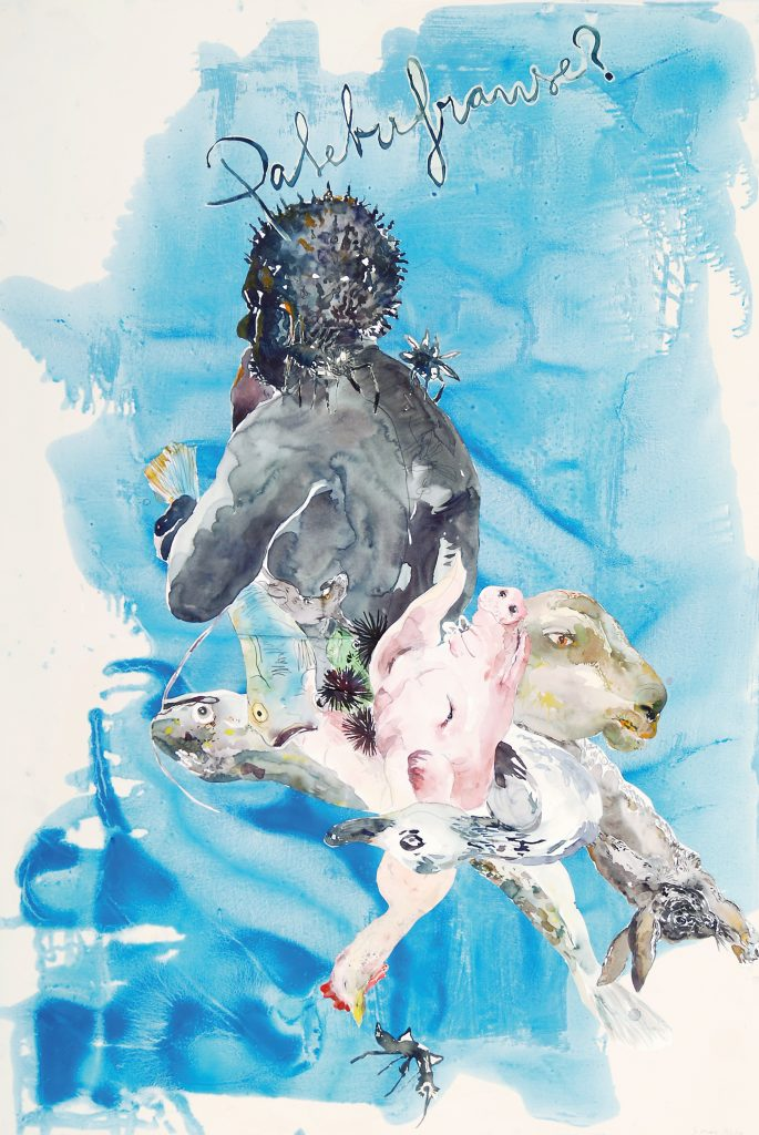 The 2011 watercolor titled Palebufranse is a composition with a human subject, with a pig, a lamb, a rabbit, a goose, and a fish suspended in a dreamy moment of reflection.