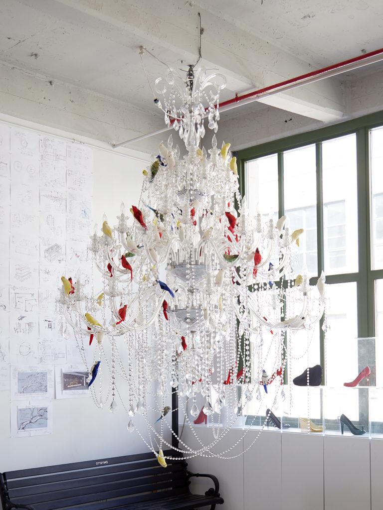 Inside sebastian errazurizs vast brooklyn studio errazurizs crystal bird chandelier with taxidermy birds photo parker steele arubaitofo Gallery
