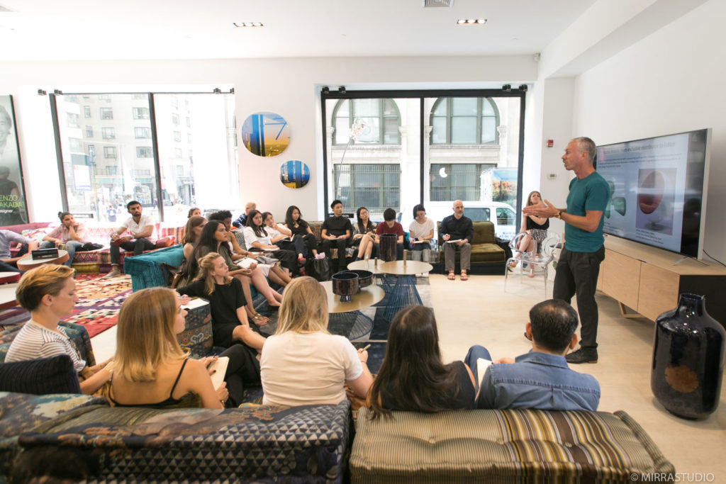 Nicolas Roche, Creative Director For Roche Bobois, Speaking To Parsons  Students. Photo: Courtesy Of Parsons School Of Design