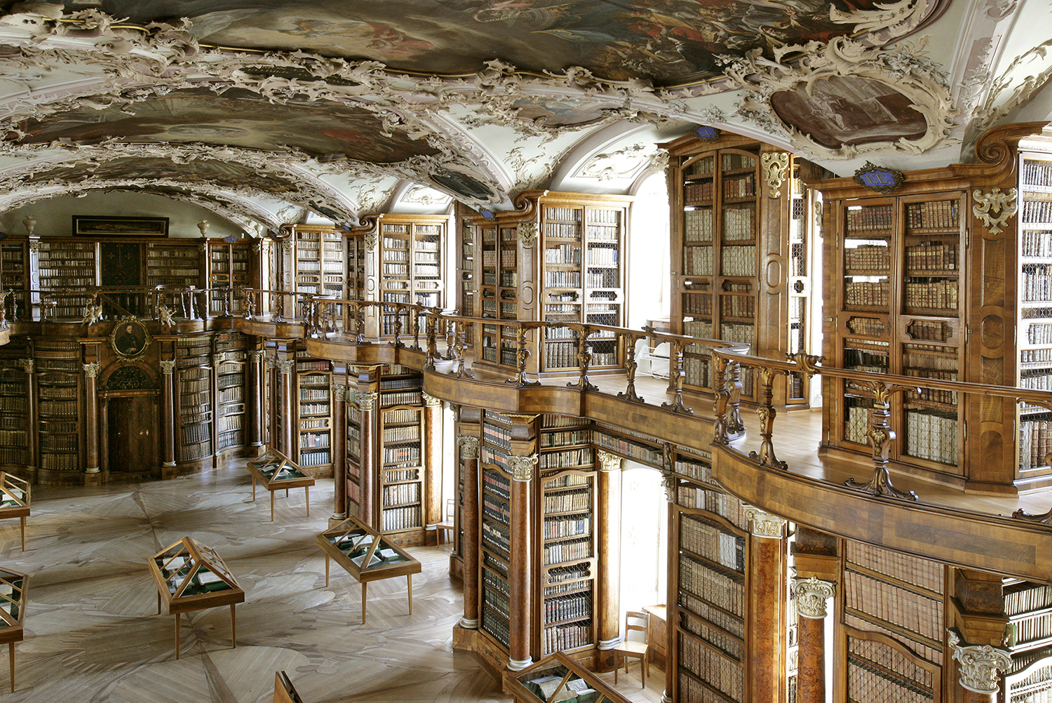 The Baroque Room at the heart of the Abbey Library of St. Gall, St. Gallen, Switzerland
