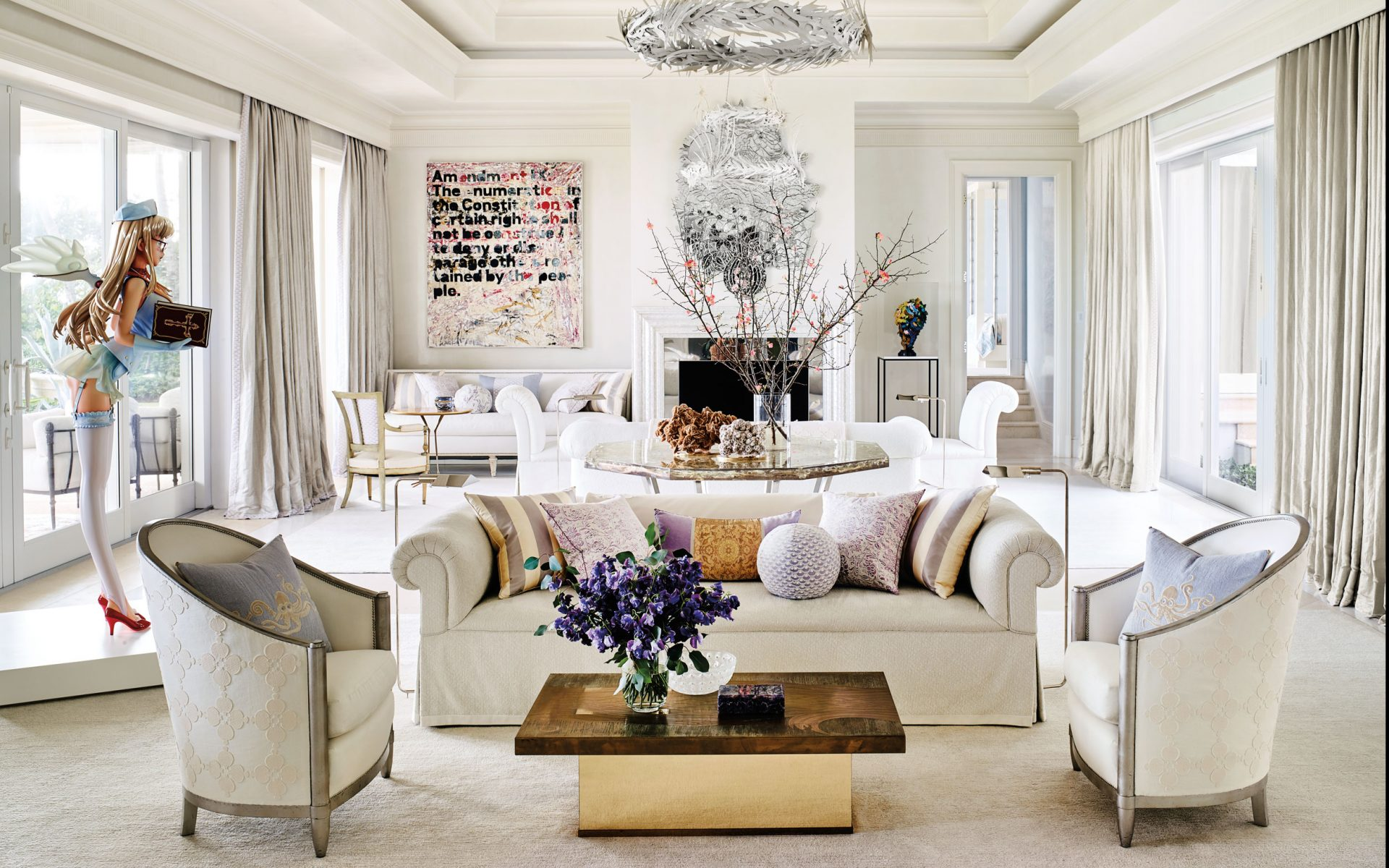 Interior Design Firm Aman Meeks And Architect Michael Perry Gave A Glamorous Update To Palm Beach Estate Owned By Blue Chip Collectors