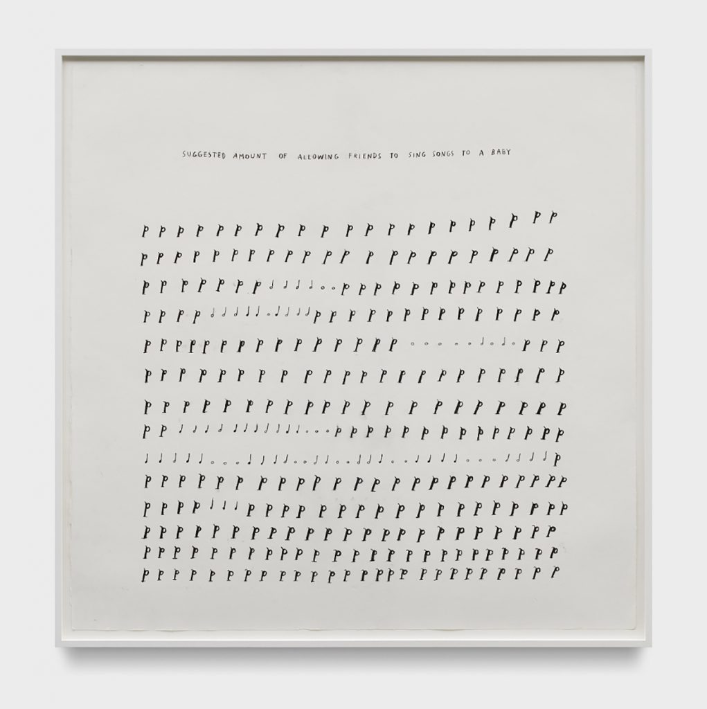 Christine Sun Kim, Suggested Amount of Allowing Friends to Sing Songs to A Baby, 2018.