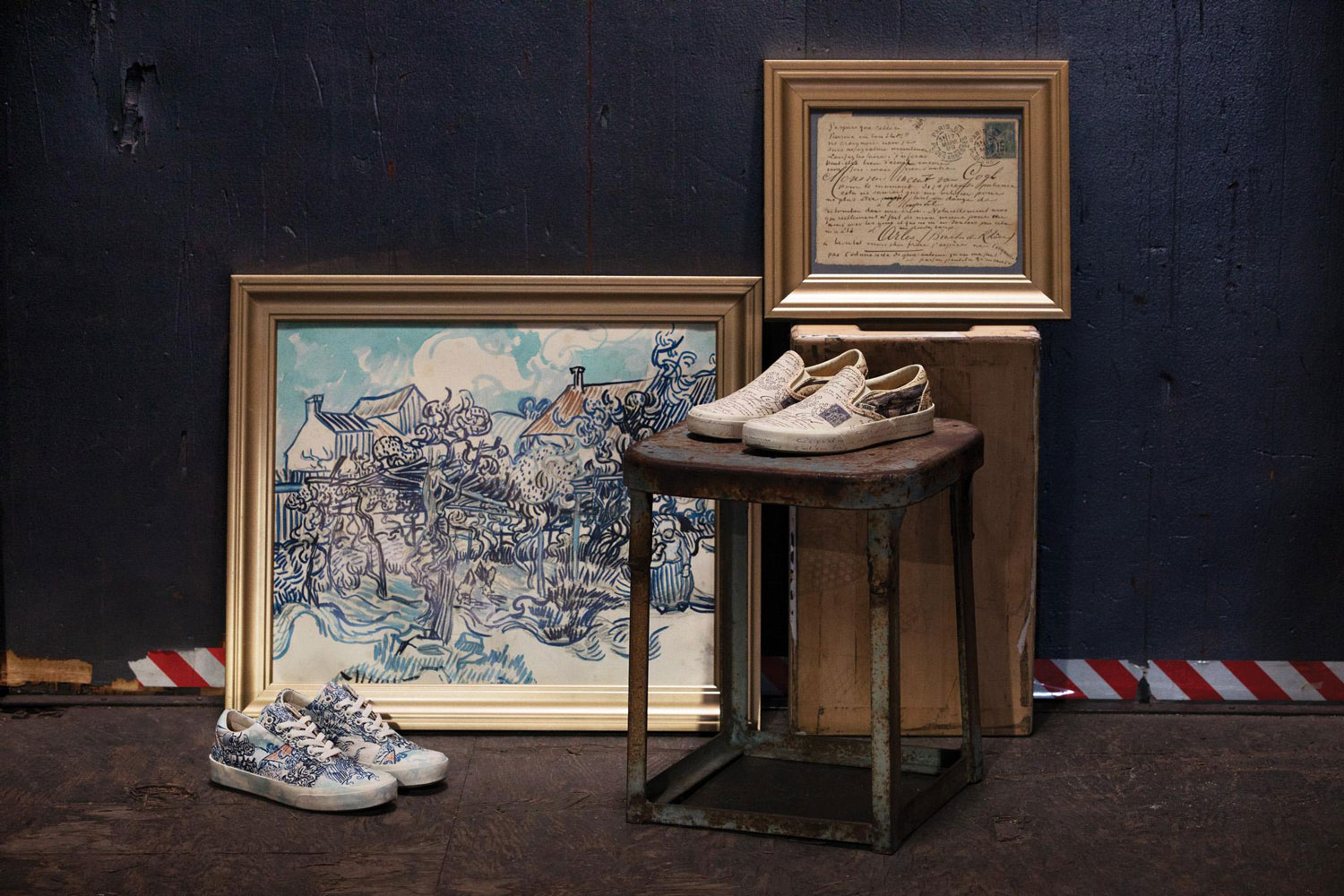 cd19f311756b55 The Vans x Van Gogh collection features sneakers printed with  Old Vineyard  with Peasant  Woman and Van Gogh s letters.