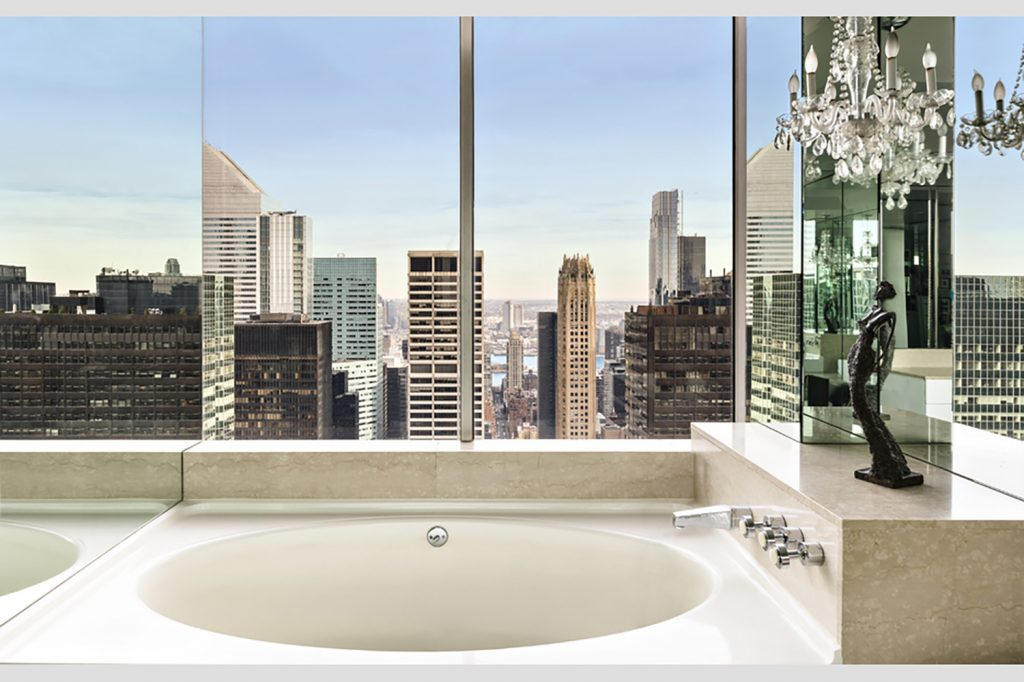 The Master Bathroom Has Stunning Views Of Surrounding City Looking Toward East River Photo Stribling