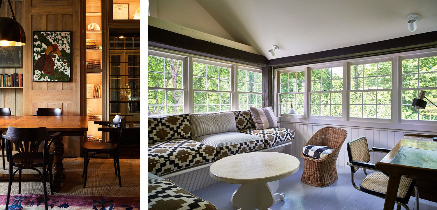 An artful common space at Troutbeck, as well as a private lounge area in one of the guest rooms.