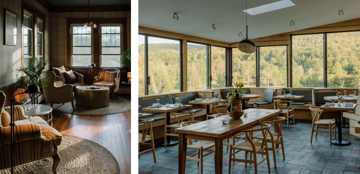 The DeBruce's interiors are cozy, yet elegant, and its restaurant boasts picturesque mountain views.