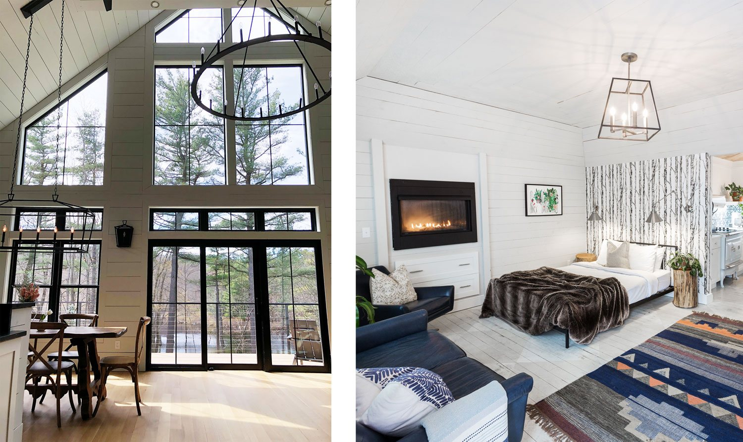 A brand-new farmhouse at Cedar Lakes Estate, as well as one of the property's guest rooms.