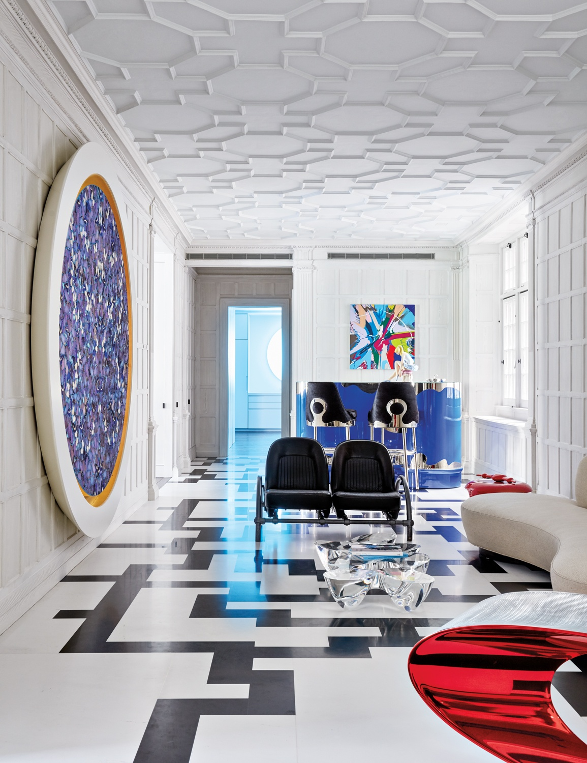 The entrance gallery of Stacey Bronfman's home in a landmark New York City building, designer Jacques Grange