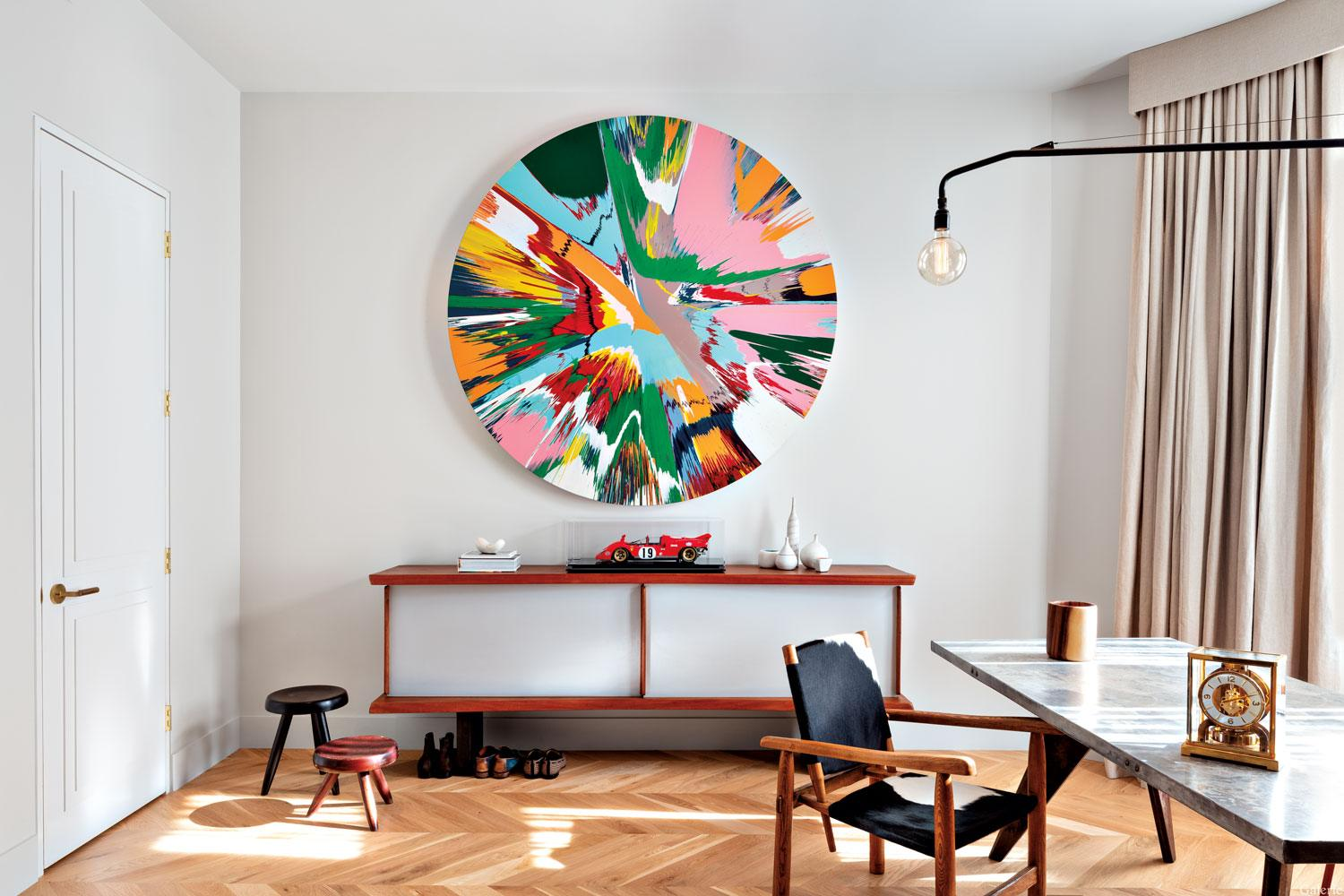 A Damien Hirst spin painting in Tina Kim's Upper West Side townhouse.