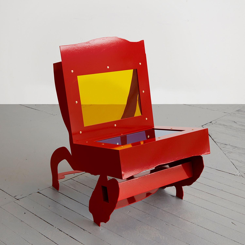 A sculptural lounge chair by Serban Ionescu.