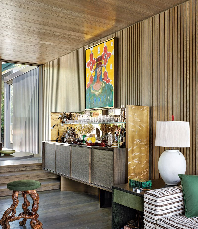 A chic bar area in a midcentury Los Angeles home redone by Georgis & Mirgorodsky.