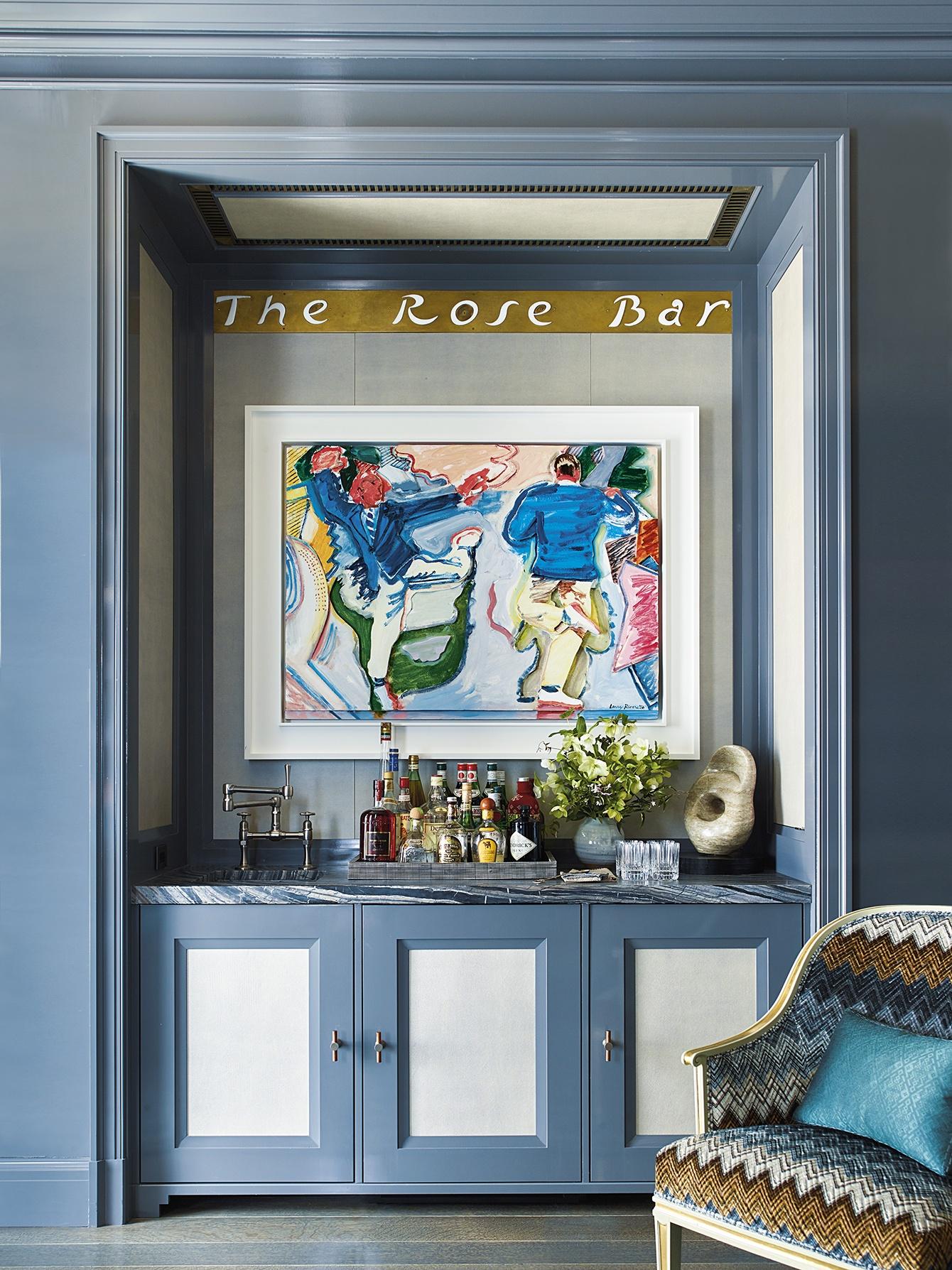 The bar of a Manhattan apartment designed by Steven Gambrel.