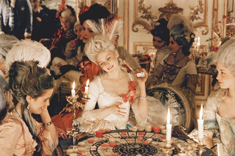 Marie Antoinette film still featuring Kirsten Dunst.